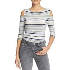 We The Free Rory Tee Ribbed Knit Cold Shoulder Top